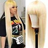 Relena 613 Straight Blonde Wig for Black Women Human Hair None Lace Front Wig with Bangs Machine Made Blonde Human Hair Wigs for Black Women 150% Density Glueless 613 Remy Wig