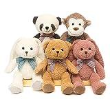 DOLDOA 5 Packs Soft Stuffed Animals Plush Cute Teddy Bear/Monkey/Panda/Rabbit Toy for Kids Boys Girls,as a Gift for Birthday/Christmas/Valentine's Day 12.5 inch (5 Packs,5 Colors)