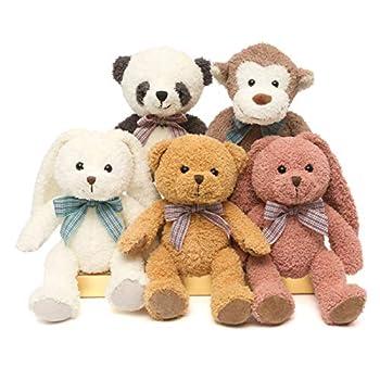 DOLDOA 5 Packs Soft Stuffed Animals Plush Cute Teddy Bear/Monkey/Panda/Rabbit Toy for Kids Boys Girls,as a Gift for Birthday/Christmas/Valentine s Day 12.5 inch  5 Packs,5 Colors