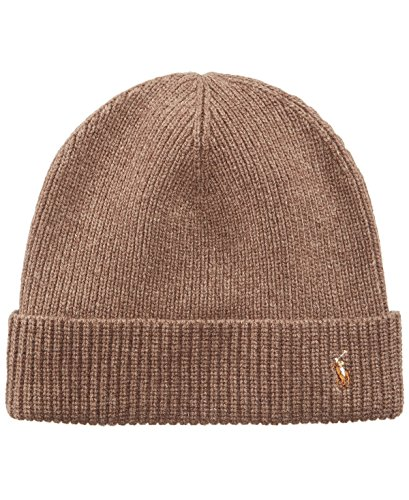 Polo Ralph Lauren Men's Merino Wool Watch Cap, Honey Brown Heather, One Size
