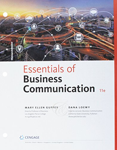 Compare Textbook Prices for Bundle: Essentials of Business Communication, Loose-leaf Version, 11th + MindTap Business Communication, 1 term 6 months Printed Access Card 11 Edition ISBN 9781337736350 by Guffey, Mary Ellen,Loewy, Dana