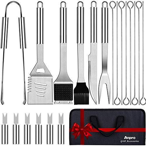 Anpro Grill Kit, Grill Set, Grilling Utensil Set, Grilling Accessories, BBQ Accessories, BBQ Kit, BBQ Grill Tools, Grilling Gifts for Men, Smoker, Camping, Kitchen, Stainless Steel, 21 PCS-Standard