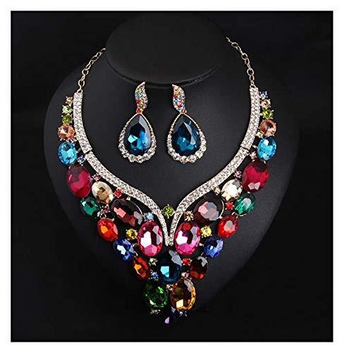 DSJTCH Color Rojo Cristal Vidrio Piedras Preciosas Cerradura Corta Collar de Hueso Anillo Oreja Conjunto de Joyas Vestido de joyería de Noche (Color : Colorful)