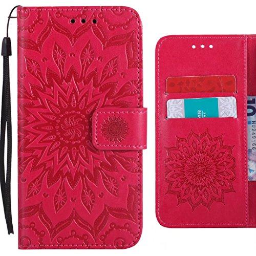 Ougger Handyhülle für ZTE Blade L110 (A110) Hülle, Blühende Blumen Tasche Leder Schutzhülle Schale Weich TPU Silikon Magnetisch-Stehen Cover Tasche ZTE Blade L110 mit Kartenslot (Rosa)