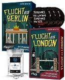Escape - Juego de mesa (huyendo de Londres, huyendo de Berlín, 4 pegatinas de salida y 1 adorno de metal)