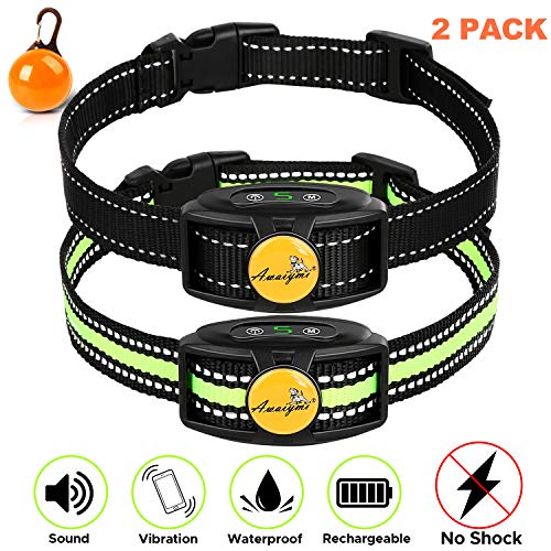 Awaiymi Bark Collar 2 Pack 2020 Upgraded Rechargeable No Shock Dog Barking Collar with Humane Dual Vibration Motor Anti Bark Reflective Collar for Small Medium Large Dogs