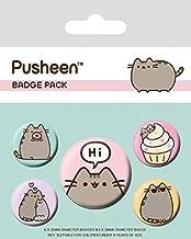 Pusheen Badge Pack - Says Hi, 1 X 38mm & 4 X 25mm Badges (6 x 4 inches)
