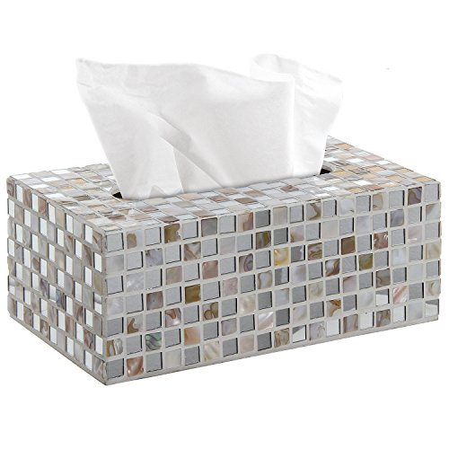MyGift Handcrafted White Glass Mosaic Tiled Design Facial Tissue Refill Holder, Decorative Napkin...