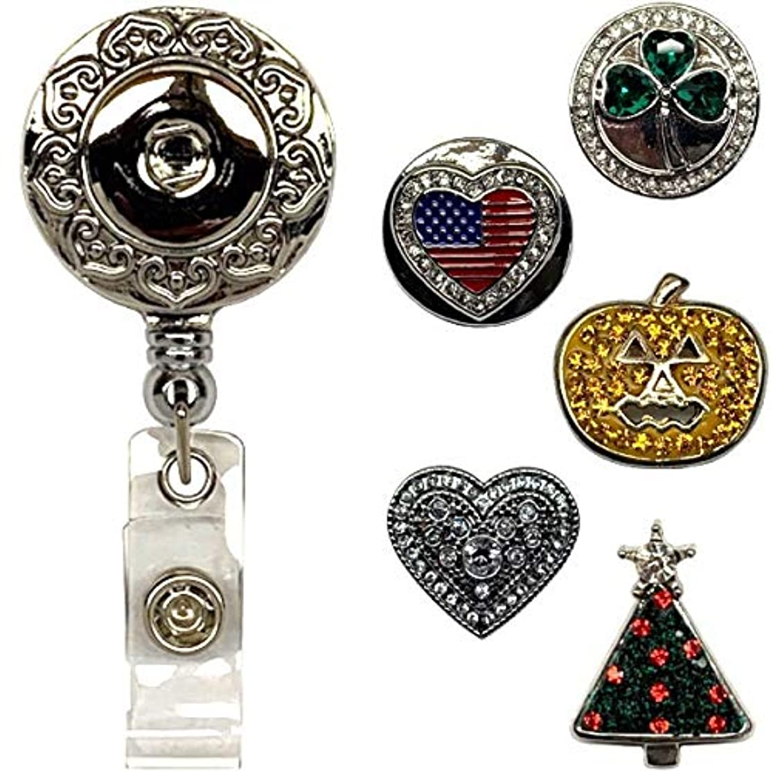 Real Charming Snap Charm Premium Decorative Badge Reel - Retractable ID Holder with Belt Clip and 5 Snap Charms Jewelry Set (OH Holiday)