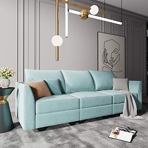 HONBAY Convertible Sectional Sofa Couch with Storage Seats Modular 3 Seater Sofa for Small Space, Aqua Blue