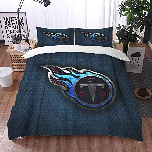 XiHi Duvet Cover Set, Bed Sheets, Tennessee Football Club Nashville Creative Art Blue Metal Background,1 Duvet Cover Set 135 * 200 cm,+2 pillowcase 50x80cm