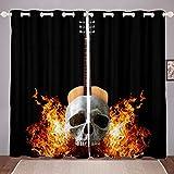 Cortina de ventana con diseño de calavera, diseño de llamas, estilo gótico, para Halloween, para niños, niñas, señora, hombres, para sala de estar, dormitorio, 167,6 x 183 cm