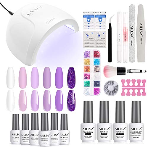 AILLSA White Purple Gel Nail Polish Kit with 48W UV LED Light, 6 Colors Lavender Gel Polish Starter Set, Essential Home Manicure Tools Nail Art Designs