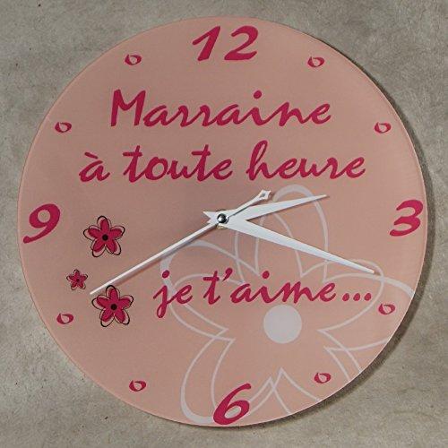 Horloge Je t'aime Marraine – Cadeau pour Marraine : Anniversaire, Noël, Baptême,Communion.