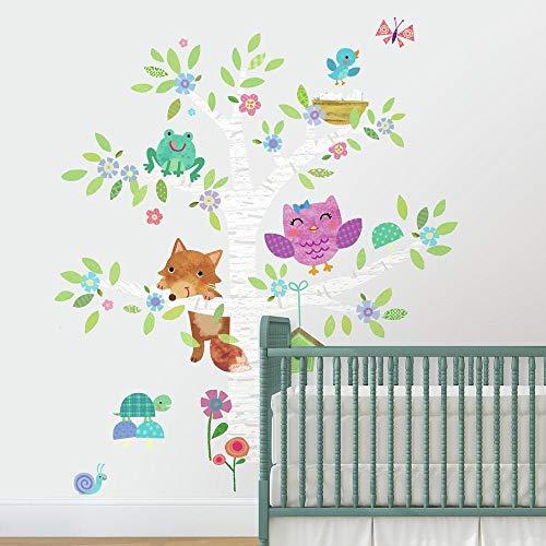 Room Mates Stickers muraux Animaux de la forêt et de bouleau, Papier, Multicolore, 48 x 8 x 8 cm
