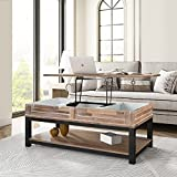YEAR COLOR Lift Top Coffee Table Pop-Up Tabletop, Lift Tabletop Dining Table with Hidden Storage Compartment and Seperated Lower 3 Cube Open Shelves for Living Room/Reception Room/Office (Brown)