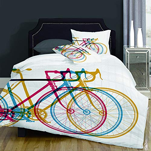 Duvet Cover Set-Bedding,Cycle Abstract Bikes in on White Bicycle Race Fun,for Single Double King Bed/Made of Ultra-Soft Microfiber