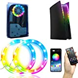 LED Light Strip for PS5, 7 Colors 400 Effects Decoration Music Sync RGB Light Strips Designed for PS5, Ring-shaped Bluetooth LED Lights with IR Remote/USB Button/APP control for Playstation 5 Console