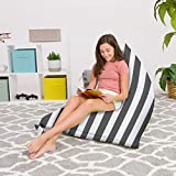 Posh Beanbags Bean Bag Chair, 200L-Large Twist, Canvas Stripes Gray and White