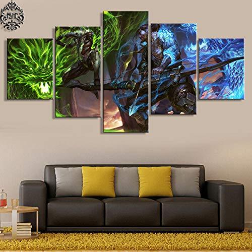 ADGUH 5BilderLeinwan5 Stück Spiel Poster Overwatch Genji und Hanzo Leinwand Malerei Bilder Wohnkultur für Wohnzimmer Wandkunst gedruckt Kunstwerk5 Drucke auf Leinwand