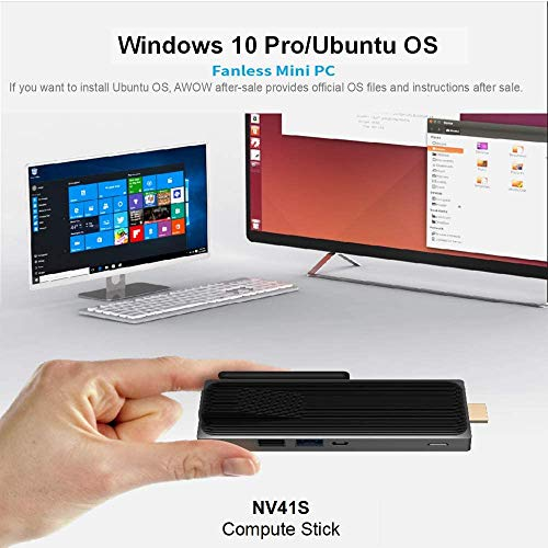 Mini PC Stick Windows 10 Pro 64-bit, AWOW Fanless Computer Stick Intel Celeron N3350 4GB DDR4 64GB eMMC, 4K HD Mini Computer,1000M LAN, Dualband-WLAN, USB 3.0, Bluetooth 4.2