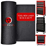 ONREVA Toolbox Drawer Liners - Tool Chest Liner, Tool Box Organizer Cart Drawer Liner, Professional Mechanics Shelf Rubber Mat Perfect for Protecting Your Tools 18 inch x 24 ft Tool Box Liner