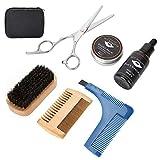 Kit de cuidado de barba, 7 piezas, kit de cuidado de barba portátil de primera calidad, para hombres, barba, modelado, crema, aceite, peine, tijeras, bigote, set de regalo para hombres