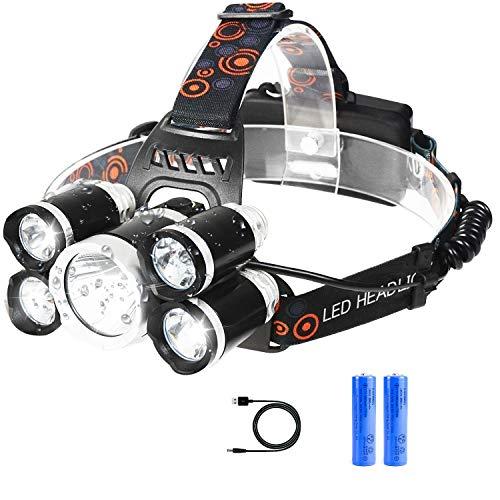ヘッドライト LED ヘッドランプ アウトドア ヘルメット USB充電式 4種モード 5灯式 SOSフラッシュ機能 ズー...