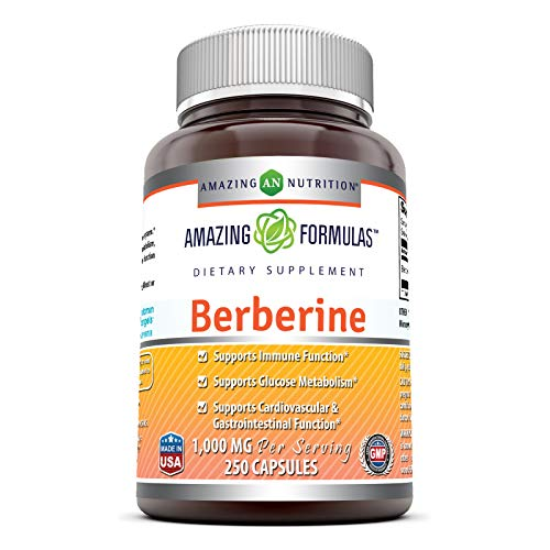 Amazing Formulas Berberine Plus 500mg Per Serving Capsules (Non-GMO, Gluten-Free)- Supports immune system, Glucose Metabolism - Aid in healthy weight management (250 Count)