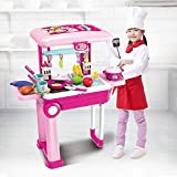 JOYSAE 2-in-1 Travel Suitcase Kitchen Set for Children | 25 Pieces Includes Toy Pots, Pans, Dishes, Utensils & Foods ABS Plastic Pretend Play Kit for Boys & Girls Gifting