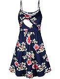 Quinee Spring Maternity Dresses,Women Printed Spaghetti Strap Breastfeeding Nursing Maxi Dress Sleeveless Empire Waist Casual Tunic Mid Length Soft Stretch Blue Floral L 10-12