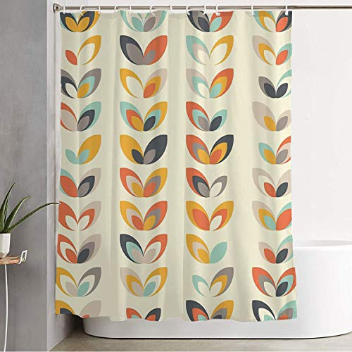 """Anmbsk Shower Curtain for Bathroom Waterproof Yellow Blue Fashion Midcentury Wrapping Geometric Retro Vintage Brown Texture Turquoise Decor 60S Bath Curtain Polyester Fabric with Hooks 72"""" x 72"""""""