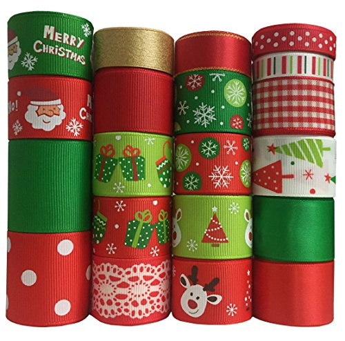 Duoqu Christmas Ribbon 20 Yards Mixed Style/Size (20X1yd) for Holiday Hair Bows Gift Wrapping (Christmas Ribbon with 20 Styles)