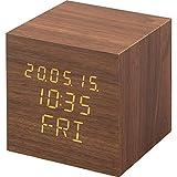 アイリスオーヤマ デジタル置時計 目覚まし時計 時計 木製 おしゃれ 正方形 ブラウン ICW-02W-T