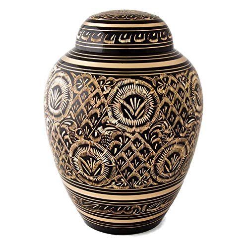 STAR INDIA CRAFT Schöne und zeitlose Urne für Erwachsene für menschliche Asche – diese große Messingurne ist eine perfekte Hommage an Ihre Liebsten – Beerdigungsurne für Asche 250 Cu/in.