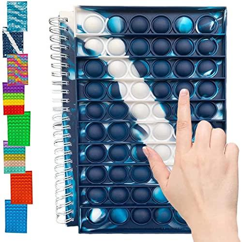 GUOL Pop It Notebook, Pop It Fidget Toy Composition Notebook, Libretas y Cuadernos, Tie Dye-Cuaderno Papel Cuadriculado, Rainbow Colors 50page Lined School Kids Notebook