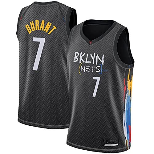 AMELIA Jerseys de Baloncesto de la NBA de los Hombres Brooklyn Nets # 7 Kevin Durant Classic Jersey Retro cómodo Ligero Ligero All-Stars Uniforme Unisex,Negro,S
