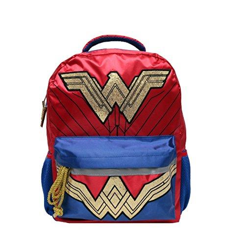 Wonder Woman Gold Glitter 16' Kids' Backpack with Headband