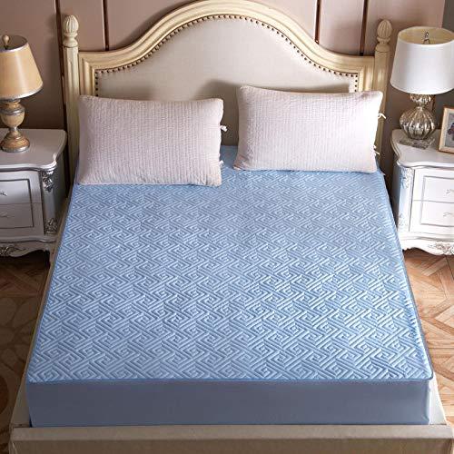 YFGY Spannbetttuch Spannbettlaken auch für`s Wasserbett 200cm * 220cm, Gesteppte Matratzenauflage rutschfestes Bett, Bettschutz mit verstellbar für Schlafzimmer Hotel Blue Super King