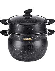Klaus Couscous-pan / stoompan, 11 l, zwart, voor het koken zoals op steen, diameter 26 cm, voor alle fornuizen, ook inductiekookplaten + deksel.
