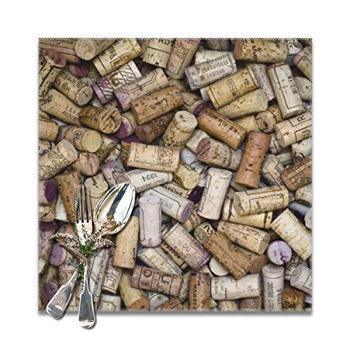 Juego de 6 manteles individuales de corcho de vino fino, antideslizantes, lavables, cuadrados, 12 x 12 pulgadas, para cocina, comedor, decoración del hogar