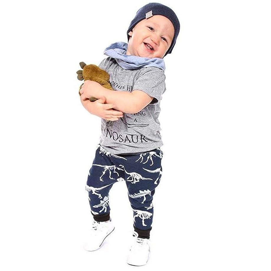ダーベビルのテス蓋祈る?幼児 半袖 2点セットRacazing 春夏 半袖Tシャツ 子供用 コットン 半袖男の子供服 かわいい 吸汗 恐竜柄 シャツ+ ズボン スーツ シンプル 夏 通学 速乾性 伸縮性 18ヶ月~5歳 90 100 110 120 130