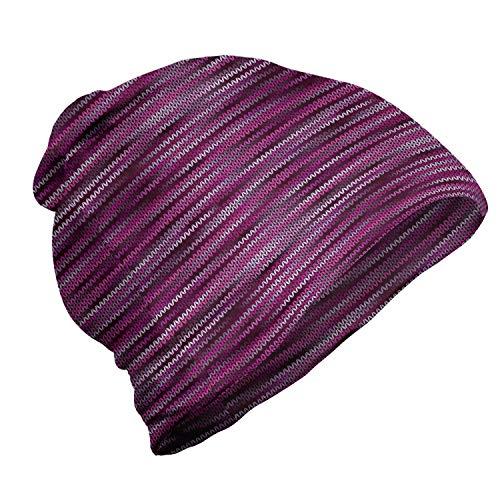 ABAKUHAUS Magenta Unisex Muts, Vintage Brei Patroon, voor Buiten Wandelen, violet Fuchsia