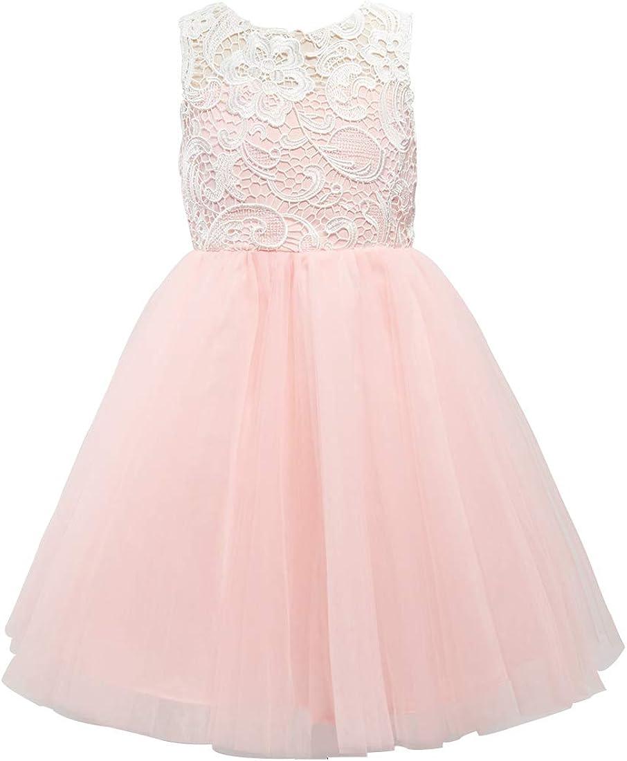 Miama Blush Pink Lace Tulle Wedding Flower Girl Dress Junior Bridesmaid Dress