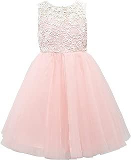 Blush Pink Lace Tulle Wedding Flower Girl Dress Junior Bridesmaid Dress