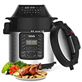 VQVG Pressure Cooker Air Fryer, Steamer, Slow Cooker, Multi-Cooker, and More, Air Fryer Pressure Cooker Combo, Two Detachable Lids, Dual Control Panel, 6 Quart for Home, Included Basket Rack Recipe Book