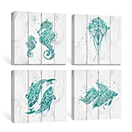 SUMGAR Bathroom Wall Art Beach Canvas Paintings Blue Ocean Pictures Rustic Coastal Decor Turquoise Prints Teal Starfish Seahorse Artwork Set of 4 Cottage Decoration, 12x12 inch