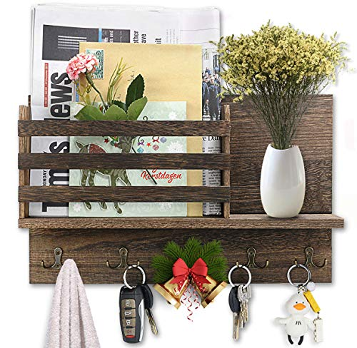 Wall Mount Entryway Mail Envelope Organizer Mail Key Holder for Wall with 5 Double Hooks Wood Decorative Floating Shelf Wooden Mail Sorter for Mudroom Foyer Decor Rustic Gray (with Artificial Flower)