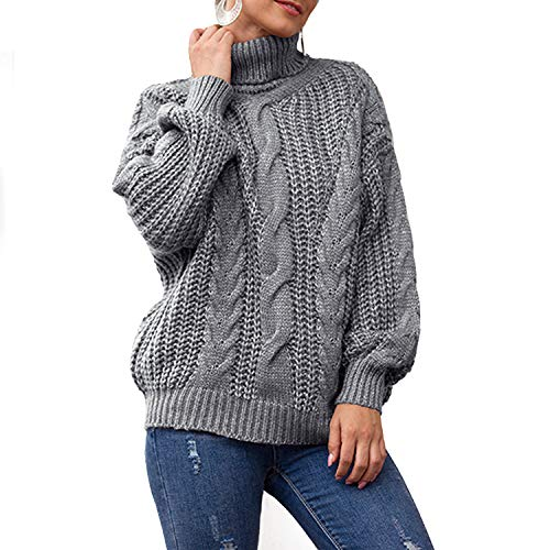 Jywmsc Donna Maglione Collo Alto Vintage Elegante Dolcevita Maglieria Lunghe Invernali Sweater Elegante Baggy Jumper Top Casual Giuntura Maglione Pullover