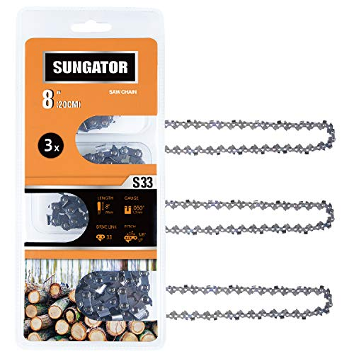 SUNGATOR 3-Pack 8 Inch Chainsaw Chain SG-S33, 3/8' LP Pitch - .050' Gauge - 33 Drive Links Compatible for Chicago, Earthwise, Greenworks and More